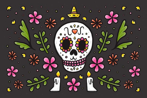 Fundo de dia de muertos desenhado à mão