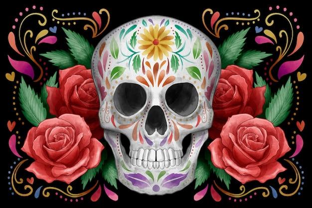 Fundo de dia de muertos em aquarela