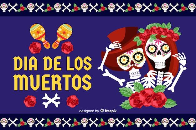 Fundo de dia de muertos plana com casal de esqueleto