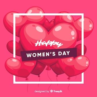 Fundo de dia de mulheres de balões de mão desenhada