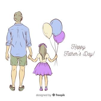 Fundo de dia de pais de mão desenhada