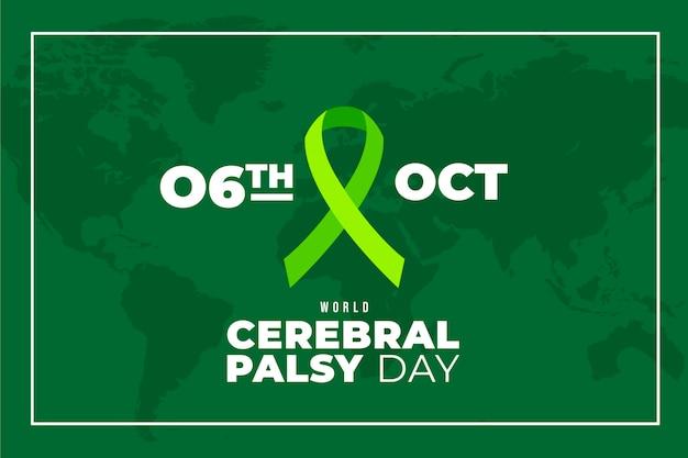 Fundo de dia de paralisia cerebral de mundo plano desenhado à mão