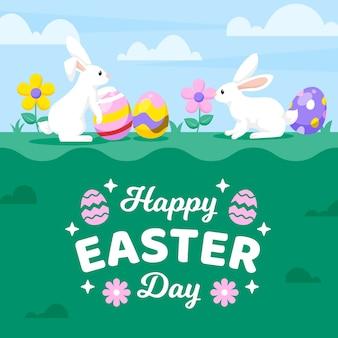 Fundo de dia de páscoa feliz design plano com coelhos e aggs