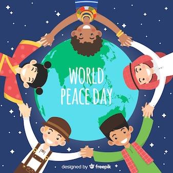 Fundo de dia de paz com as crianças ao redor do globo
