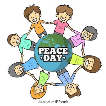 Fundo de dia de paz com as crianças de mãos dadas ao redor da terra