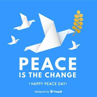 Fundo de dia de paz com origami pomba