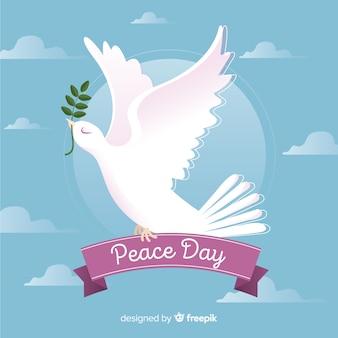 Fundo de dia de paz com pomba bonitinha