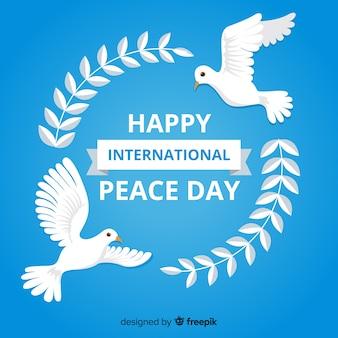Fundo de dia de paz de pomba plana