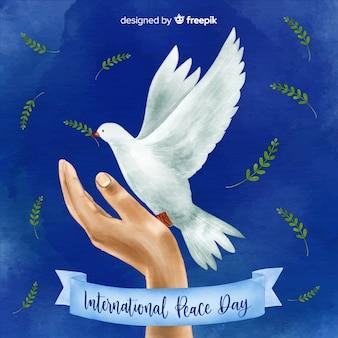 Fundo de dia de paz em aquarela com linda pomba realista