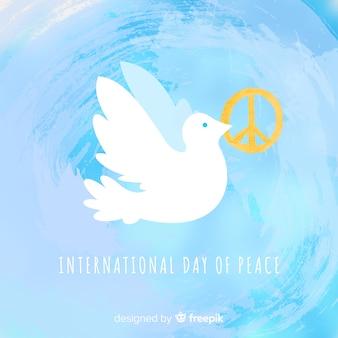 Fundo de dia de paz em aquarela com pomba branca