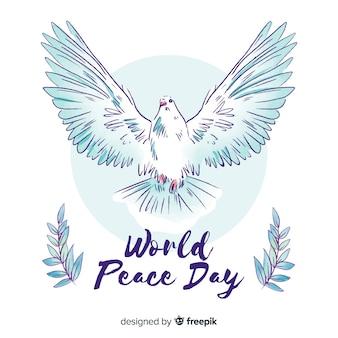 Fundo de dia de paz em aquarela com pomba