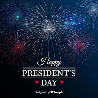 Fundo de dia de presidentes de fogos de artifício