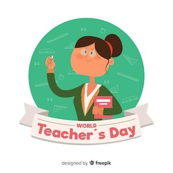 Fundo de dia de professores de design plano