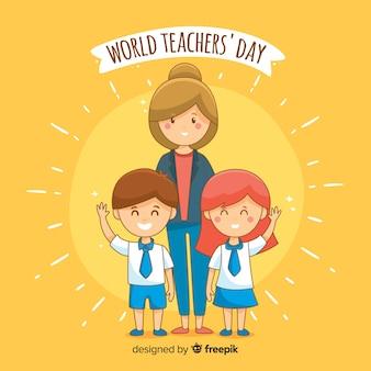 Fundo de dia de professores mundo desenhado à mão