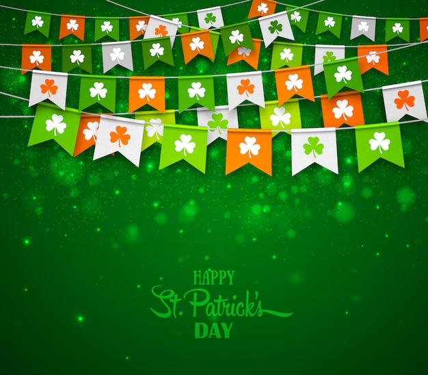 Fundo de dia de são patrício. bandeiras coloridas guirlandas com trevo. banner de férias