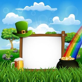 Fundo de dia de são patrício com um sinal de madeira, chapéu verde e moedas de ouro em um caldeirão