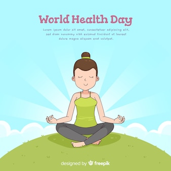 Fundo de dia de saúde de mão desenhada mundo