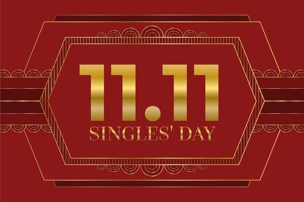 Fundo de dia de solteiros vermelho e dourado com data