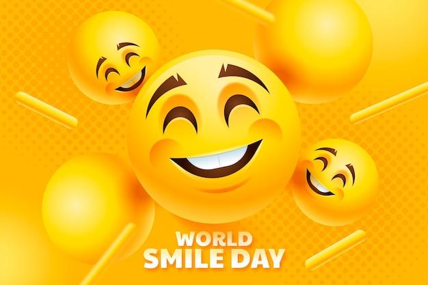 Fundo de dia de sorriso do mundo realista com emojis sorridentes