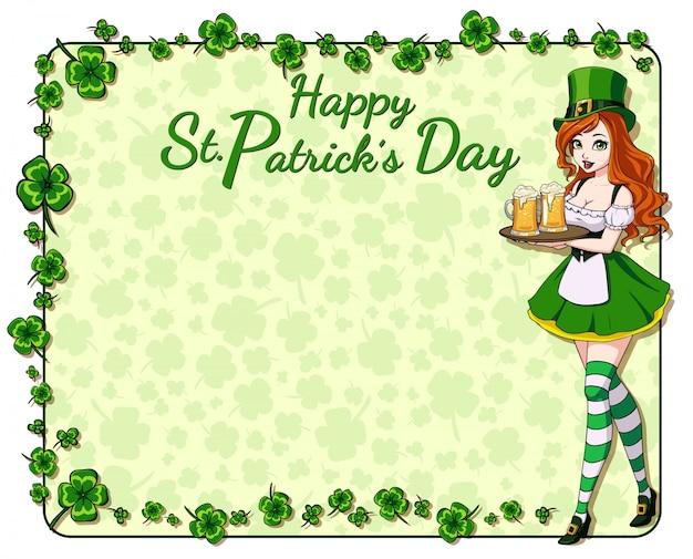 Fundo de dia de st. patrick s com folhas de trevo e menina bonita, segurando a caneca de cerveja