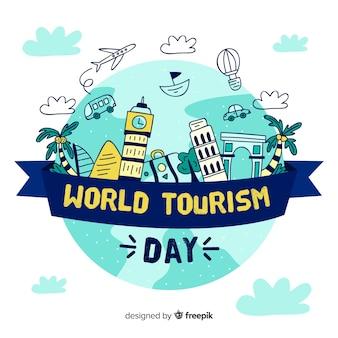 Fundo de dia de turismo de mão desenhada