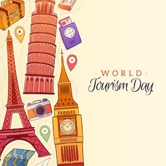 Fundo de dia de turismo desenhado à mão
