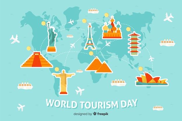 Fundo de dia de turismo do mundo plana