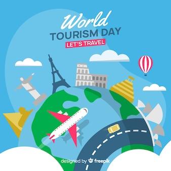 Fundo de dia de turismo mundo plana com marcos