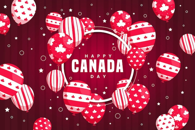 Fundo de dia do canadá com balões