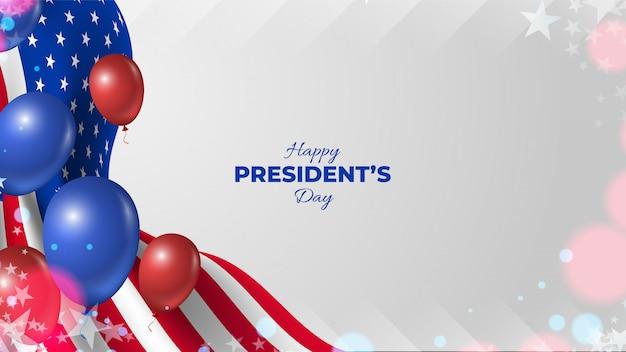 Fundo de dia do presidente dos eua com bandeiras e balões