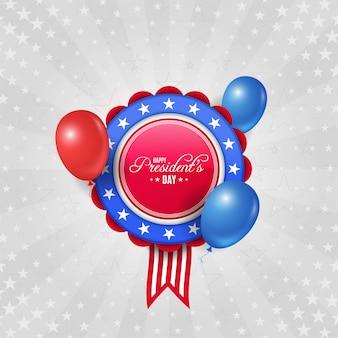 Fundo de dia do presidente dos eua com distintivo e balões
