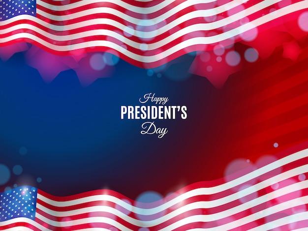 Fundo de dia do presidente dos eua com luzes desfocadas e bandeiras onduladas