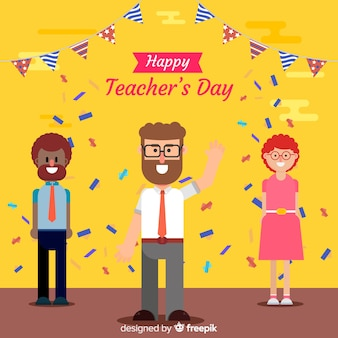Fundo de dia do professor mundial com pessoas e confetes