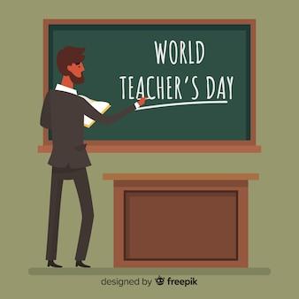 Fundo de dia do professor mundial com professor e quadro-negro