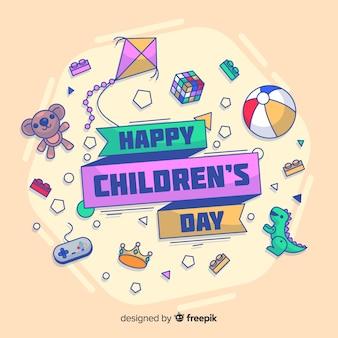 Fundo de dia doodle brinquedos para crianças