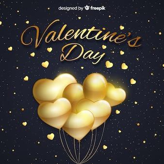 Fundo de dia dos namorados balões dourados