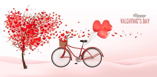 Fundo de dia dos namorados com árvore em forma de coração
