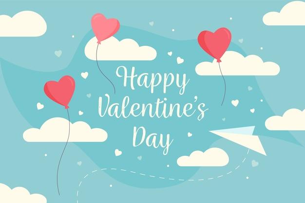 Fundo de dia dos namorados com balões em forma de coração e nuvens