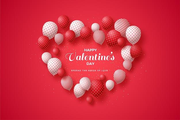 Fundo de dia dos namorados com balões formando amor.