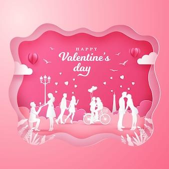 Fundo de dia dos namorados com casais românticos apaixonados em rosa