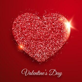 Fundo de dia dos namorados com confetes e coração vermelho brilhante