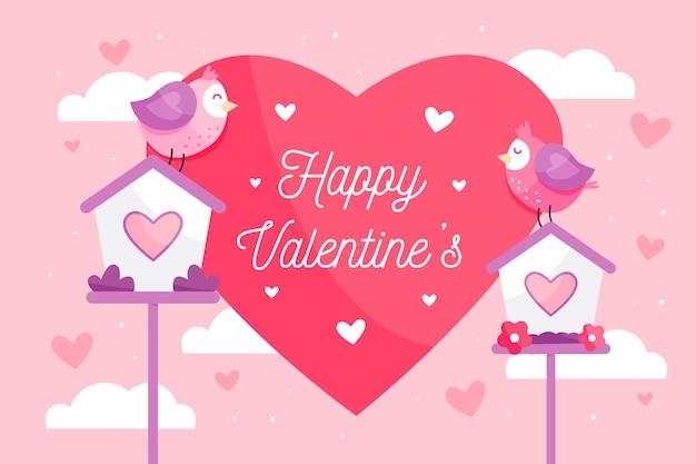 Fundo de dia dos namorados com coração e pássaros