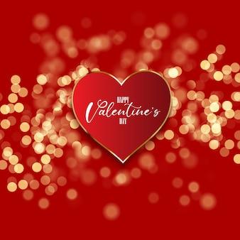 Fundo de dia dos namorados com coração em luzes de bokeh