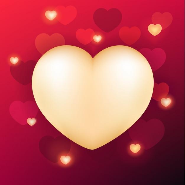 Fundo de dia dos namorados com coração realista