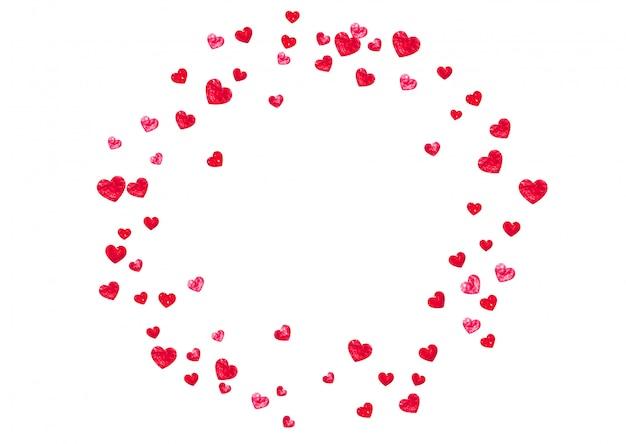 Fundo de dia dos namorados com corações de glitter rosa.
