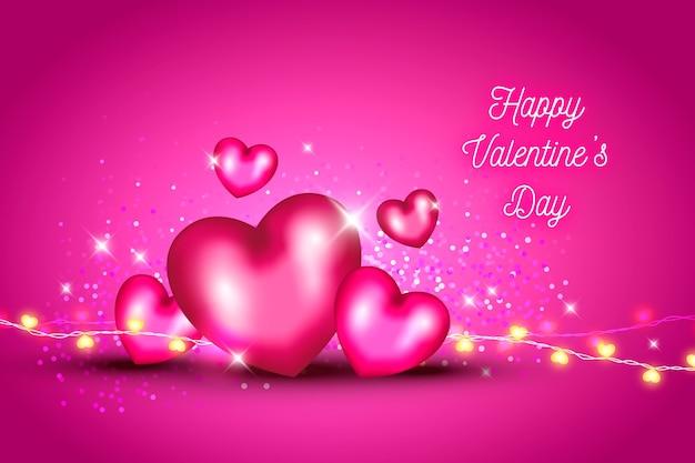 Fundo de dia dos namorados com corações e glitter