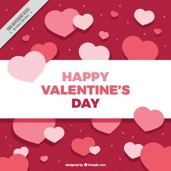 Fundo de dia dos namorados com corações em tons de rosa