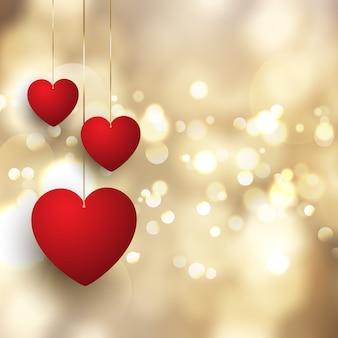 Fundo de dia dos namorados com corações pendurados no design de luzes de bokeh