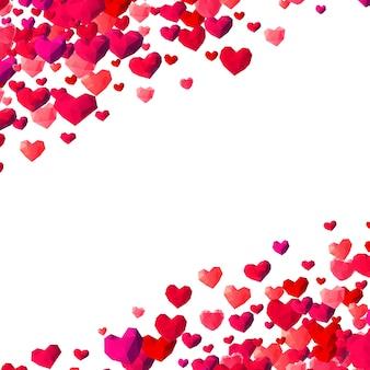 Fundo de dia dos namorados com corações triângulo disperso