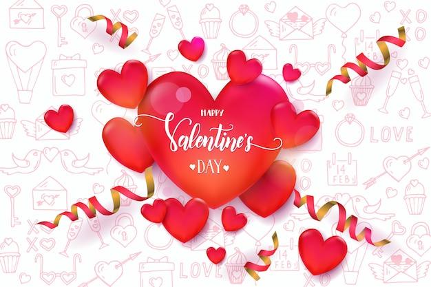 Fundo de dia dos namorados com corações vermelhos 3d e serpentina no padrão